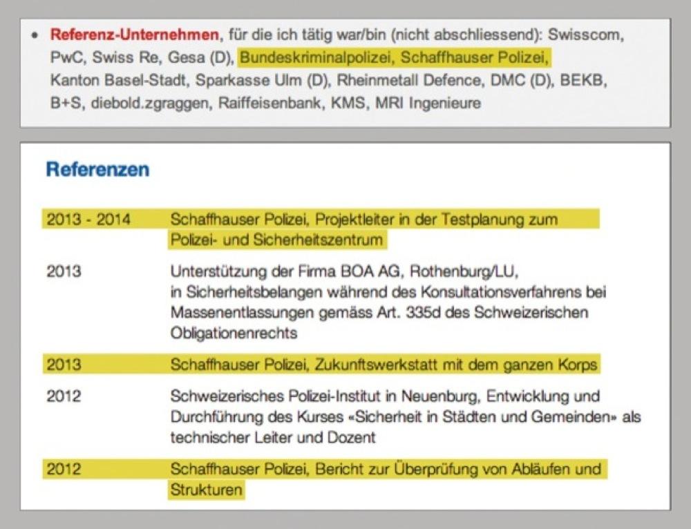 Die Ex-Freundin N. (oben) und der Jasskumpel S. (unten) erwähnen auf ihren Webseiten die Schaffhauser Polizei als Referenzen. Bild: Screenshots