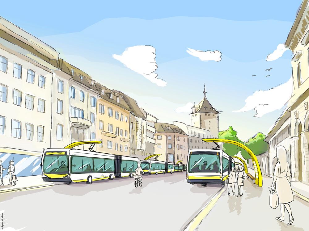 Busladestationen am Bahnhof Schaffhausen. Bild: zVg