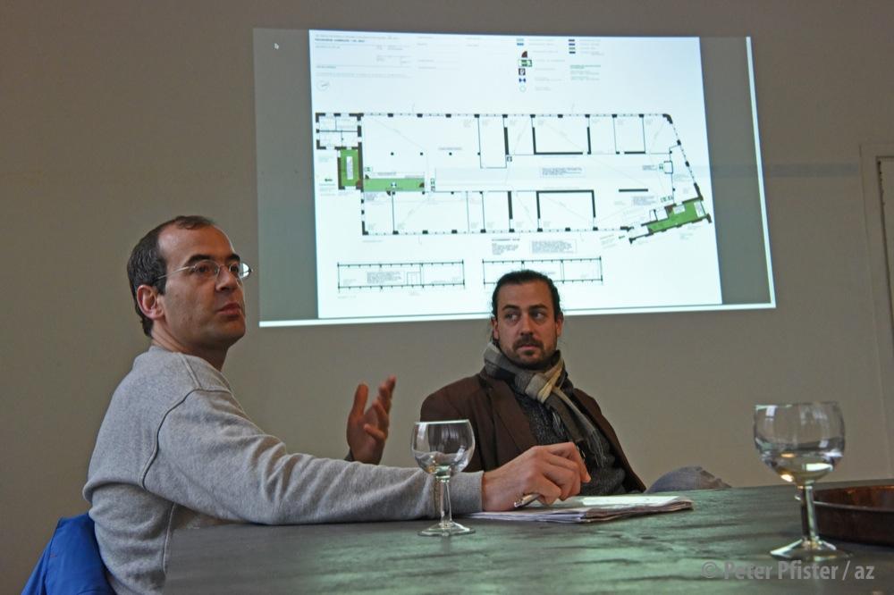 Vor Ort informierten Beat Juncker (links) und Patrick Werner über ihre Pläne für die Kammgarn West.