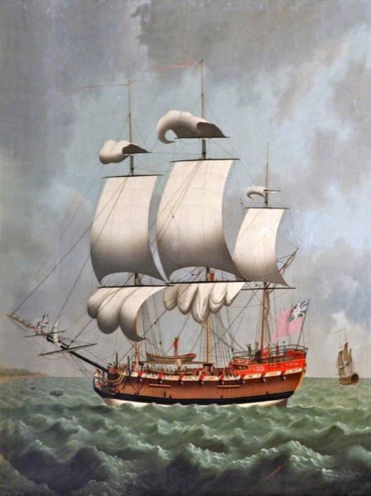 Englisches Sklavenschiff, gemalt von William Jackson, irgendwann zwischen 1750 und 1803.