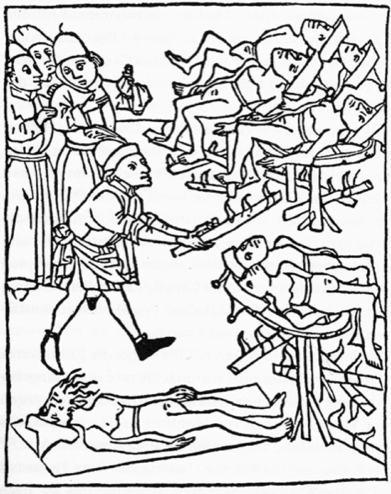 Giftsäckchen als Beweis: Juden werden gefoltert, damit sie die Brunnenvergiftung gestehen. Holzschnitt von 1475. Aus: Karl Heinz Burmeister, Medinat Bodase, Band 1.